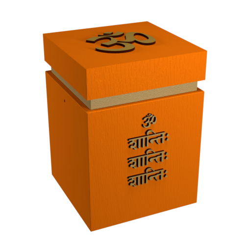 Urne Buddhismus Hinduismus Om Shanti auf Sanskrit, orange/gold
